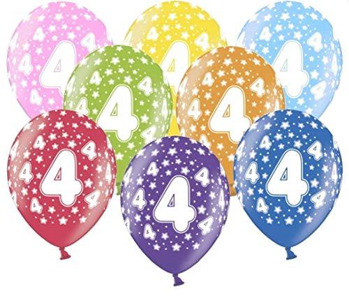 Libetui 10 kunterbunte Luftballons Metallic 30cm Deko zum Geburtstag Party Kindergeburtstag Happy Birthday Dekoration (Zahl 4)
