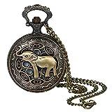 Lancardo Reloj de Bolsillo Retro Cadena de Suéter Reloj Decorativo Redondo Estuche con Decoración Relieve de Elefante Dial de Escala Digital Reloj de Cuarzo de Color Bronce No Impermeable