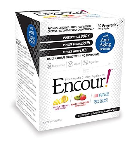 5154Ow6RlNS. SL500  - Encour! Bioenergetic Anti-Aging Supplement | Variety Pack 3 Flavors | Drink Powder Packs