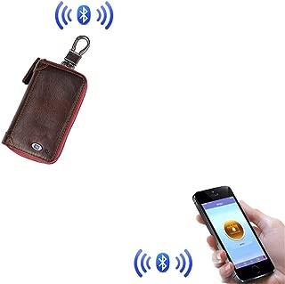 QYZNQB Anti-Perdida Carpeta Dominante Caso Llavero Bolsa Inalámbricas Bluetooth del Teléfono Móvil Monederos de Coches (Color : Red-Wine)