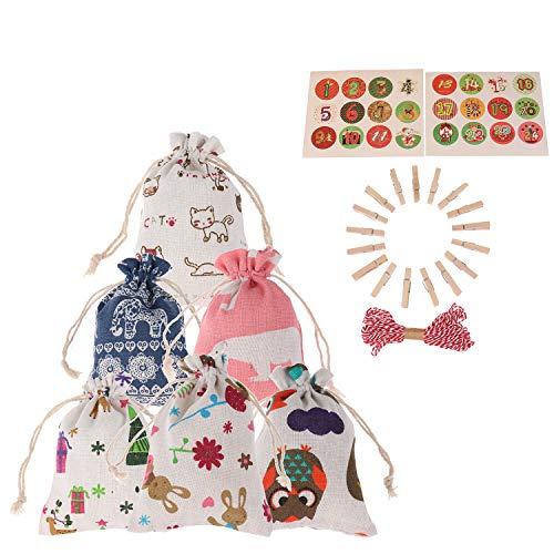 Poluka 24 bolsas con cordón de 15 x 10 cm con 24 clips de Navidad, para bodas, fiestas, varios estilos, regalos de chocolate y caramelos