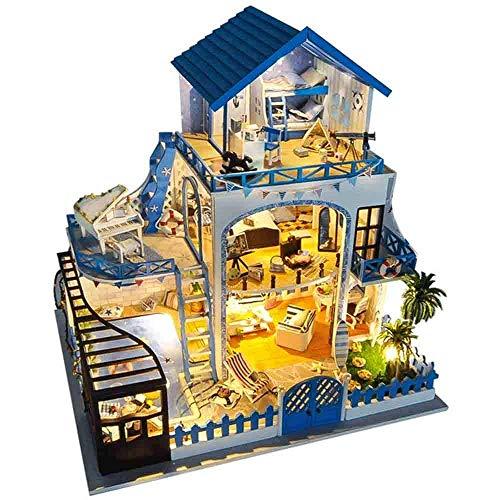 DIY Dollhouse Kit, DIY House Meet Again The Aegean Sea Villa Creative Gift, Wooden Dollhouse Mini Handmade Kit Model, for Girls Cabin