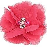 TLBBJ Accesorios para el Cabello 18 unids Pearl Rhinestone Gasa Flores Accesorios para el Cabello DIY Flower Ramo Flores Decoraciones No Hay Clips de Pelo para la Diadema Moda (Color : Hot Pink)