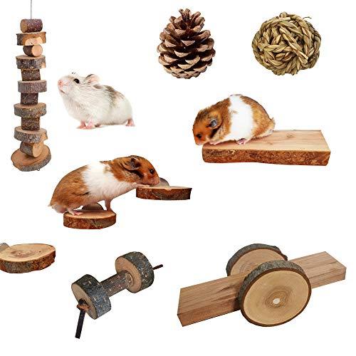 MYSY Juguetes masticables roedores, 9 Piezas de Juguetes molares de Madera de Manzana Natural para Conejillos de Indias, Chinchillas, hámsters, jerbos, Ratas