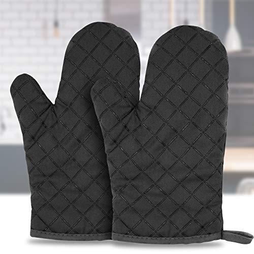 Goovy Ofenhandschuhe, Hitzebeständige Verdickte Handschuhe Hitzeresistente Silikon Anti-Rutsch Design, Geeignet für Kochen, Backen, Grillen, Schwarz