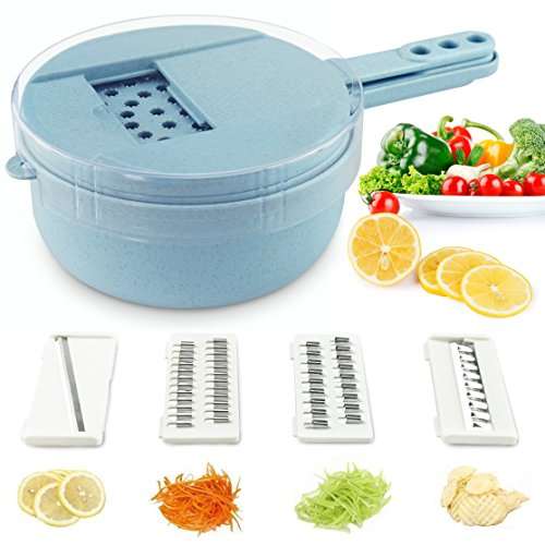 Soogoo Vegetable Slicer, 9 in 1 kitchen Mandoline Slicer veggie Cutter Grater Chopper Julienne Slicer with Hand Protector,Food Storage Container Tool for Potato, Tomato, Onion, Cheese, Cucumber