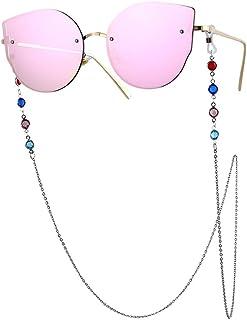 Ronshin Fashion Woman Fashion Colorful Diamond-encrusted Anti-slip Eyeglasses Chain Silver
