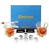 Hotrose Whiskeygläser Set, Geburtstagsgeschenk Set für Männer und Frauen, Kristall Wein Tassen Geschenkset mit 2 Gläsern, 6 Eiswürfelsteinen, 1 Gummizange