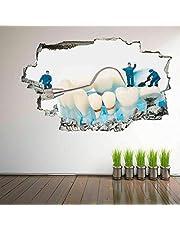 Muursticker Mensen Schoonmaken Tanden Dental Care Deca Muurschildering Kinderen Vinyl Sticker Slaapkamer Art 23x35 inch (60x90cm)