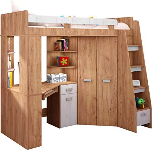 Hochbett mit Schreibtisch, Regal und Kleiderschrank. Treppe rechts oder links (Craft-gold/Craft-white - Right Hand-side Stairs)