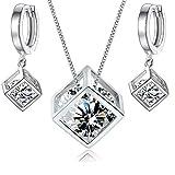 Blanco Cristales austríacos de Zirconia Cubo Juego de joyas Collar con colgante 45 cm Pendientes 18k Chapado en oro blanco