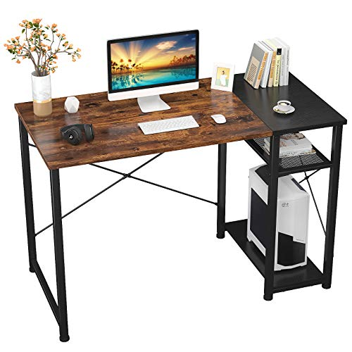 Foxemart Home Office Computer Desk 40 inch Sturdy Writing Desk with 2Tier Storage Shelves Modern Simple Style PC Desk for Home Office Study Room Bedroom(Vintage Oak Finish)