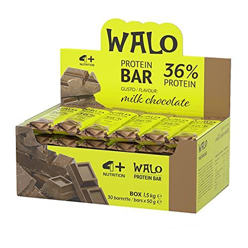 4+ NUTRITION - Walo Crockbar, Integratore Sportivo, Barrette Proteiche, con Sieroproteine, Gusto Milk Chocolate, 30 pezzi