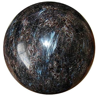 Arfvedsonite Sphere Crystal Ball Rare Black Blue Flash Gemstone Crystal Healing Meditation Protection Orb P01