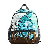 Kids Mini Backpack Blue Rider In Motorcross Dirt Bike Cute Small School Bags Toddlers Daypack for Children Girls Boys Teens Adult Outdoor