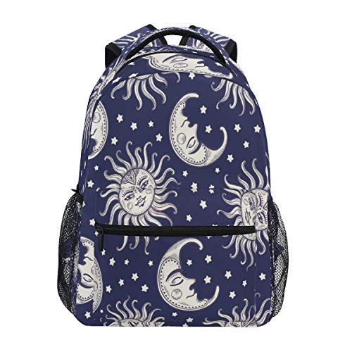 XIXIKO Tribal Moon Star Sun Pattern Backpack School Bookbag Travel Outdoor Backpack for Women Men Boy Girl Sport Gym Hiking Camping Daypack Rucksack