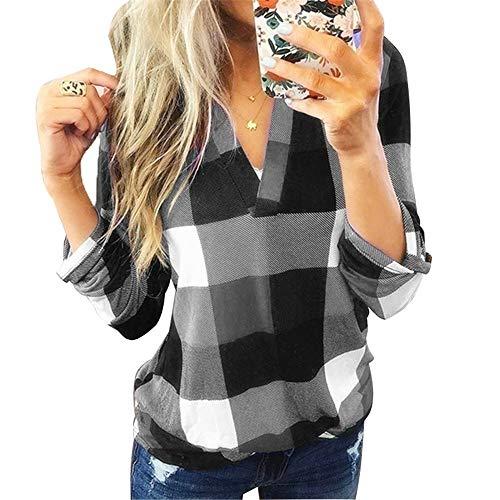 Damen Frühling und Herbst Hemden Plaid Print V-Ausschnitt Langarm Top T-Shirt