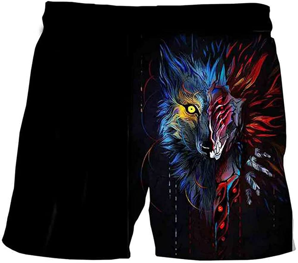 Viking Tattoo Men Shorts, Summer Nordic 3D Printing Quick-Drying Beach Pants with Pocket Swimming Trunks (S-5XL)
