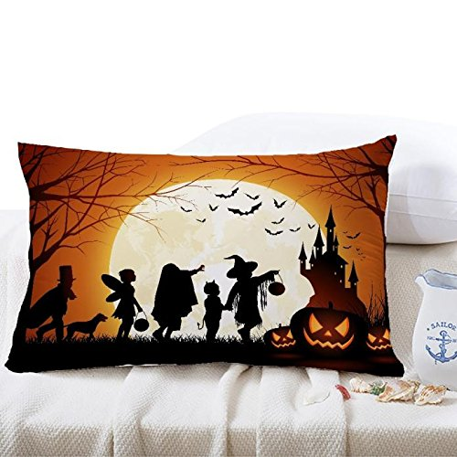 jieGorge 30*50cm Halloween Square Pillow Cover Cushion Case Pillowcase Zipper Closure , Pillow Case for Halloween Day (I)