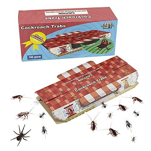 Lot de 16 pièges à cafards avec appât, piège à cafards adhésif intérieur collant, non toxique, anti-cafards à l'intérieur et à la maison, colle de qualité supérieure, Eco-Ffriendly Spiders Bugs Killer