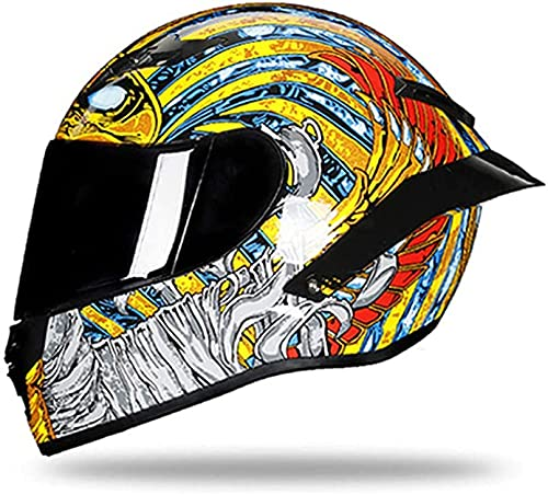 Casco De Motocicleta, Casco Casco De Ciclomotor De Motocicleta con Visera Solar, Ventilación Múltiple, Certificado ECE (Color : 02, Size : L)