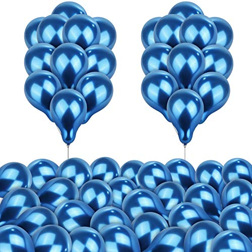 durony 60 Pieces 5 Inch Metallic Balloons Thick Latex Chrome Balloons Decorative Latex Balloons for Birthday Festival Party Wedding Engagement Decorations (Blue)