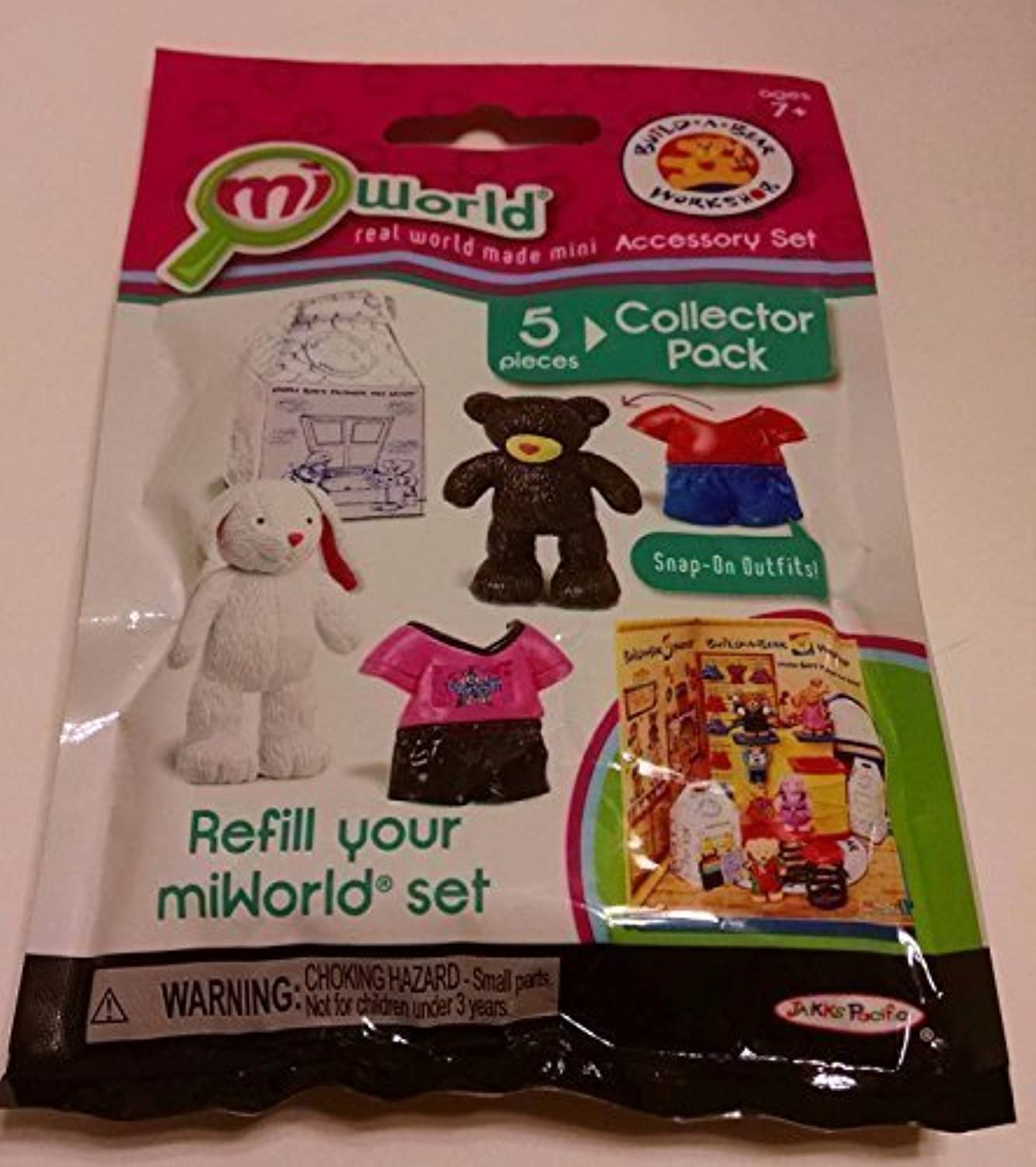 Miworld Build A Bear Workshop Accessory Set (5 Pc Collector Pack  1 Lil Cub, 1 Cuddley Bunny, 1 Cub Condo and 2 Snap On Outfits) by Jakks Pacific Mi World
