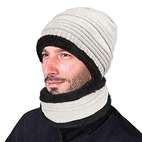 XIAOJIE De gebreide muts van dames heren wintermuts warme muts met sjaal-grijs wit 1