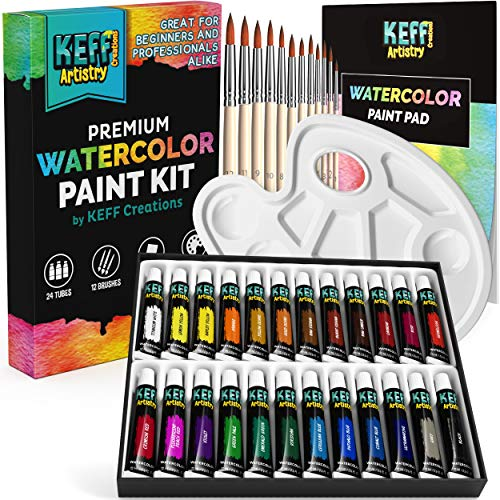 Keff Creations Watercolor Paint Set| Watercolor Paint Kit Includes Many Painting and Art Supplies- 24 Bottles of Paint, Watercolor Brushes. Complete Water Color Set for Artist, Adults and Kids.