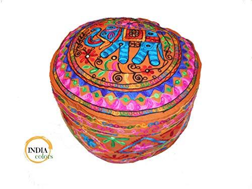 India colors Puff cojín Funda Bordado Artesanal Hecho