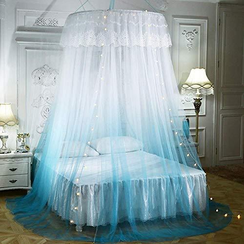 DPSLYXCD JWZ Große romantische Farbverlauf Kuppel Moskitonetz Vorhang Prinzessin Bett Baldachin Spitze Runde Zelt Bettwäsche, mit Lichterkette-Blue