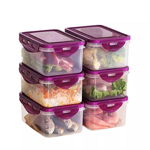 Wly&Home Voedselbak, 6-delige verzegelde Crisper, BPA-vrije Lunchbox, Compatibel met koelkast/magnetron/vriezer/Vaatwasser, Paars