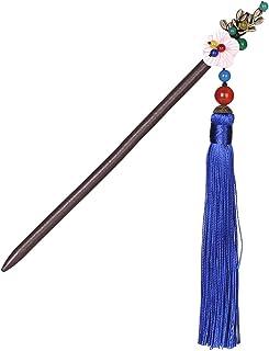 Pinza para el cabello ZQ Estilo Antiguo Horquilla de Madera Azul Borla Step Shake Disco Clásico Horquillas Disfraces Horquilla Traje Hanfu Tocado Estilo Chino