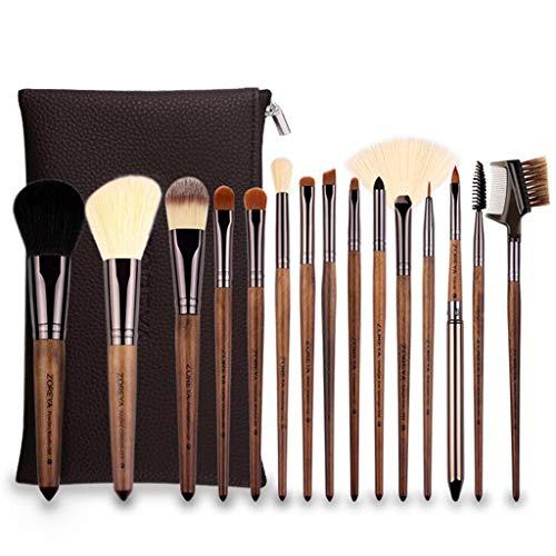 Beauté Pinceau De Maquillage, Manche en Bois De Noyer Noir 15 Pièces, Pinceau De Fard À Paupières Foundation Blush Ensemble Complet d'outils