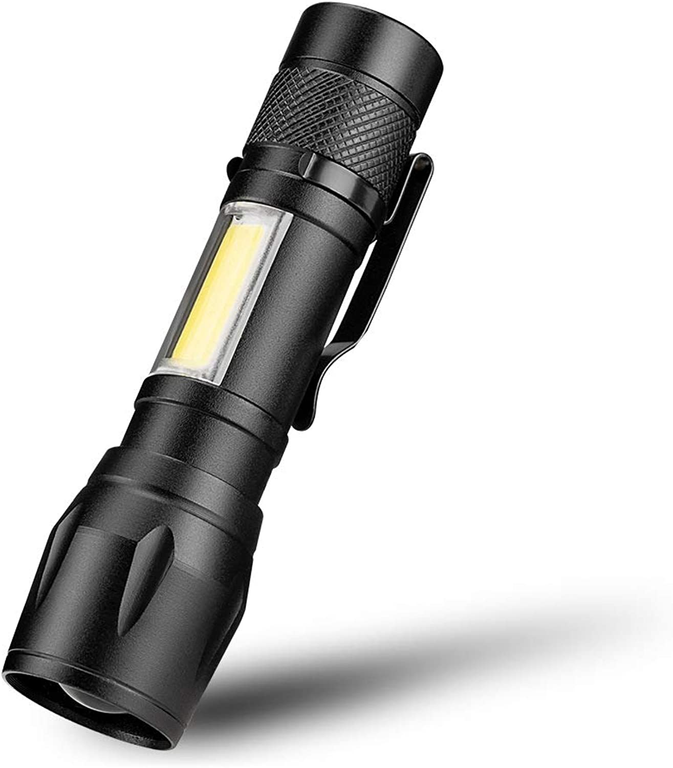LED Torch COB+LED with Clip Small Flashlight Telescopic Zoom Aluminum Outdoor Flashlight for Camping, Hiking and Emergency Use 2Pcs