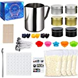 Candle Making Kit,Astonlink DIY Candle Making Supplies for Kid, Adult and Beginner,Include Pouring Pot, Beeswax, Tins, Wicks, Dyes, Wicks Sticker , Stirring Spoon and Silicone Candle Molds