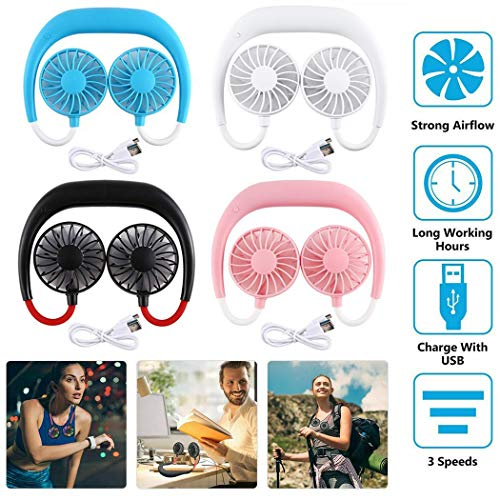 mandii New Portable USB Mini Neck Hanging Dual-Head Fan Handy Cooler Personal Fans