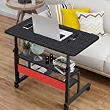 TV Tray Table Side Table on Wheels Sofa Couch Coffee Table TV Trays Rolling Laptop Computer Desk C-Shaped Mobile Chair Bed Side End Table for Living Room Bedroom-U.S.Shipping (Black)