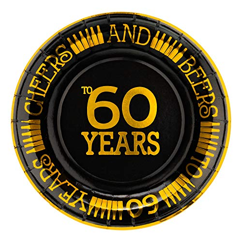 Crisky 60th Birthday Plates Black and Gold Dessert, Buffet, Cake, Lunch, Dinner Plates for 60th Birthday Decorations Party Supplies, Cheers and Beers to 60 Years! 50 Count, 9 Plate