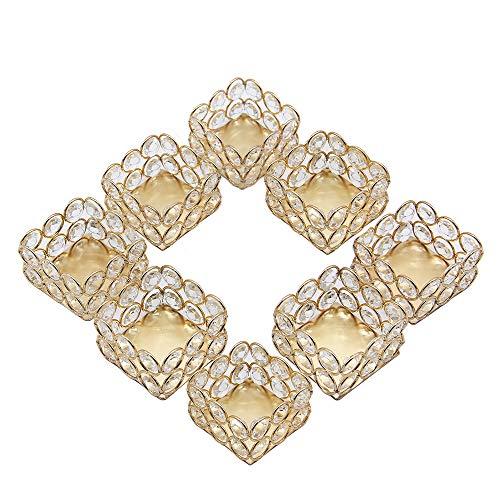 VINCIGANT Goldene Votivkerzenhalter, 8 Stück, Kristall-Teelichthalter für Hochzeit, Probe, Abendessen, Feiertage, Tischdekoration
