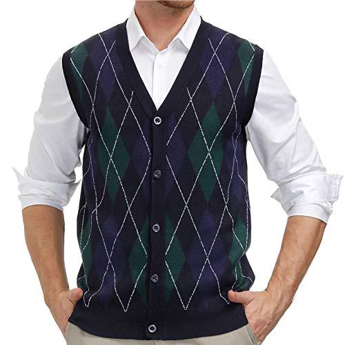 PJ PAUL JONES Knit Vest for Men Casual Sweater V-Neck Sleeveless Sweater Soft Fabric Blue, L