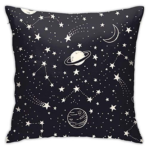 Lsjuee Night Sky Dibujado a Mano Decorativo Throw Pillow Cover Funda de cojín con Cremallera para el hogar Sofá Dormitorio Silla de Coche Fiesta en casa Interior Exterior 18 x 18 Pulgadas 45 x 45 cm