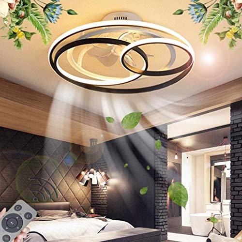 Ventilador de techo con iluminación LED Luz de techo moderna Control remoto Regulable Velocidad del viento ajustable Ventilador silencioso con luz Sala estar Dormitorio Comedor Luz colgante,58cm