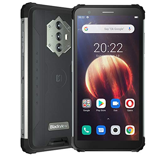 Blackview BV6600 (2021), Teléfono Móvil Resistente Android 10 4G de 5,7', 4 GB de RAM, 64 GB de ROM, Expansión de 128 GB, Cámara 16 MP + 8 MP, Batería de 8580 mAh, Dual SIM NFC GPS Giroscopio FM Negro