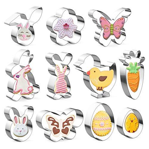 Ausstechförmchen Ostern, 11 Stück Oster Ausstecher Set, Plätzchen Ausstecher Ostern, Ausstechform|Ausstecher Hase|Keksausstecher Ostern, Ideales Ostergeschenk & für Osterplätzchen