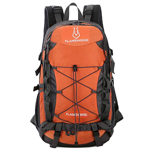 TOMSHOO 40L Water-resistant Hiking Backpack Outdoor Sport Camping Climbing Cycling Travel Backpack Daypack Bag for Men Women-Orange