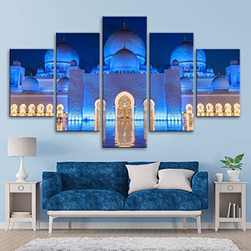 FFFZDCKAY Bilder 5-teilig Leinwandbilder Islamische Wandkunst Islamische Moschee Gebäude Landschaft Leinwanddruck Gemälde Poster Wandbilder Wohnzimmer Dekor Rahmenlos