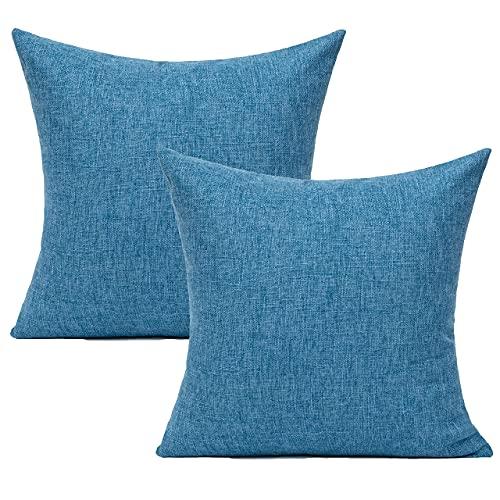 Fundas de almohada para muebles de patio al aire libre, color azul marino, fundas de almohada de lino de arpillera sólidas, de 45,7 x 45,7 cm, para sofá, porche, Sunbrella, juego de 2