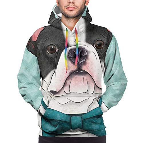 Men & Boys Athletic Casual Sweatshirts Pullover, Drawstring Boston Terrier Mint Green Pattern Hoodies Tracksuits for Riding, Hiking, Travel