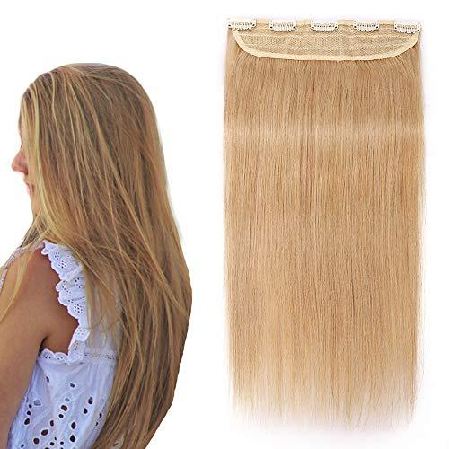 Extension a Clip Cheveux Naturel Monobande Epais - Rajout Cheveux Humain Une Pièce (#24 Blond naturel, 45cm-90g)